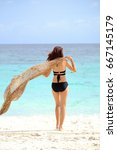 young woman  on the beach.... | Shutterstock . vector #667145179