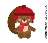 animal squirrel cartoon | Shutterstock .eps vector #667147027