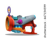 cartoon retro space blaster ... | Shutterstock .eps vector #667154599