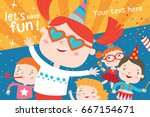 children having fun at birthday ... | Shutterstock .eps vector #667154671