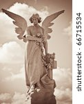 Young Female Angel In Sepia...