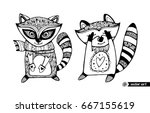 raccoons isolated  cartoon... | Shutterstock .eps vector #667155619