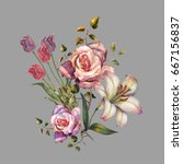 watercolor bouquet lily and... | Shutterstock . vector #667156837