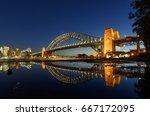 sydney harbour bridged with... | Shutterstock . vector #667172095