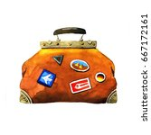 traveling bag. watercolor hand... | Shutterstock . vector #667172161