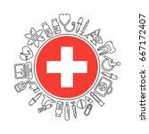 vector medicine and health in...   Shutterstock .eps vector #667172407