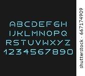 futuristic light blue font on... | Shutterstock .eps vector #667174909