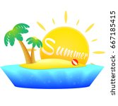 island with palm trees. summer... | Shutterstock .eps vector #667185415