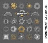 set of vector starbursts.... | Shutterstock .eps vector #667186201