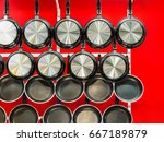 metal black frying pans with a... | Shutterstock . vector #667189879