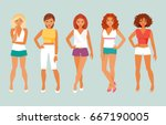 set of fashion women in summer... | Shutterstock .eps vector #667190005