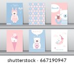 Stock vector set of cute animals poster template cards bear vector illustrations 667190947