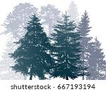 illustration with fir trees... | Shutterstock .eps vector #667193194