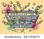funky colorful drawn boom box   Shutterstock .eps vector #667193674
