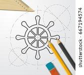 vector blueprint steering wheel ... | Shutterstock .eps vector #667194574
