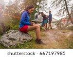 brunette woman writing personal ... | Shutterstock . vector #667197985