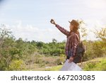 tourists back pack blowers made ... | Shutterstock . vector #667203085