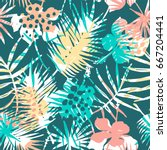 seamless exotic pattern with... | Shutterstock .eps vector #667204441