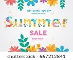 summer sale banner  sale poster ... | Shutterstock .eps vector #667212841
