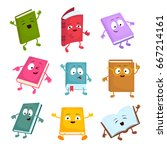 funny and cute cartoon book... | Shutterstock .eps vector #667214161