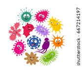 funny germs and virus kids... | Shutterstock .eps vector #667214197