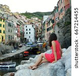 back view of red dressed girl... | Shutterstock . vector #667214455