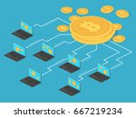 crypto money and net banking.... | Shutterstock .eps vector #667219234