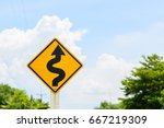 road sign. traffic sign. twisty ... | Shutterstock . vector #667219309