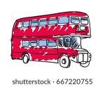british red bus hand drawn...
