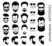 set of men's faces with... | Shutterstock .eps vector #667222411