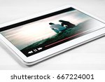 online movie stream with mobile ...   Shutterstock . vector #667224001