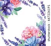 bouquet of wildflowers ... | Shutterstock . vector #667226191