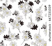 flower illustration pattern | Shutterstock .eps vector #667231039