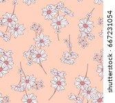 flower illustration pattern | Shutterstock .eps vector #667231054