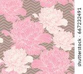 hand drawn linen peony flower ... | Shutterstock .eps vector #667232491