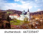 castle and church of the virgin ...   Shutterstock . vector #667235647