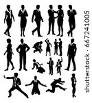 a business people silhouettes... | Shutterstock .eps vector #667241005