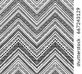 seamless ethnic pattern drawn... | Shutterstock .eps vector #667243129