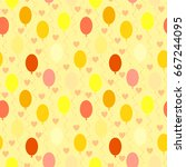 seamless pattern of cheerful... | Shutterstock .eps vector #667244095
