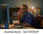 handsome african american... | Shutterstock . vector #667250569