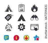 tourist camping tent icons....