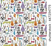 seamless pattern for happy... | Shutterstock .eps vector #667254775
