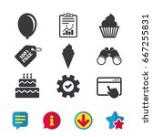 birthday party icons. cake with ...