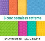 set of cute bright patterns.... | Shutterstock .eps vector #667258345