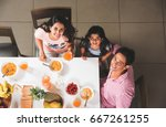 top view of happy  smiling... | Shutterstock . vector #667261255