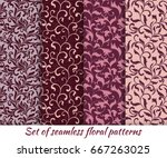 set of floral seamless patterns ... | Shutterstock .eps vector #667263025
