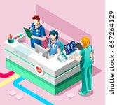 clinic nurse station day...   Shutterstock .eps vector #667264129