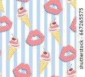 lip pattern  vector  illustrator | Shutterstock .eps vector #667265575