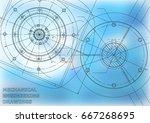 mechanical engineering drawings.... | Shutterstock .eps vector #667268695