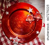 rustic christmas background...   Shutterstock . vector #667270225